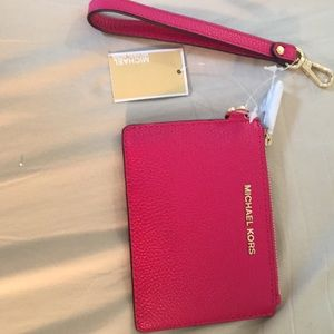 Michael Kors small coin purse - pink leather new